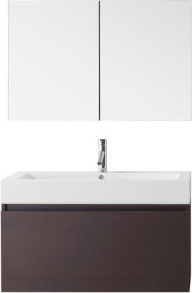 """Virtu USA JS-50339-XX-001 Modern 39"""" Single Sink Bathroom Vanity Set with Brushed Nickel Faucet in"""