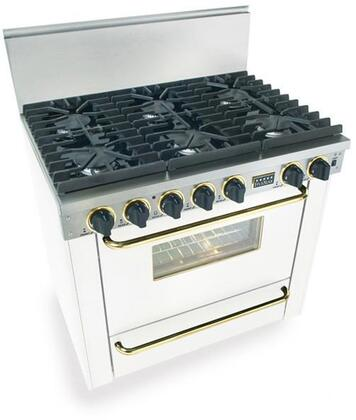 """FiveStar WPN3117SW 36""""  White with Brass Gas Freestanding Range with Sealed Burner Cooktop, 3.69 cu. ft. Primary Oven Capacity, Broiler"""