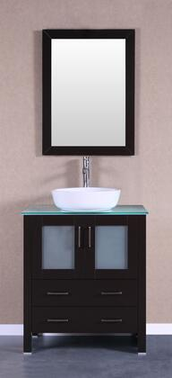 Bosconi Bosconi AB130BWLCWGX Single Vanity with Soft Closing Doors , Drawers,Glass Top, Faucet, Mirror in Espresso and White Vessel Oval Ceramic Sink