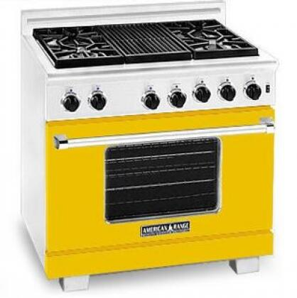 American Range ARR364GDLYW Heritage Classic Series Liquid Propane Freestanding Range with Sealed Burner Cooktop, 5.6 cu. ft. Primary Oven Capacity, in Yellow