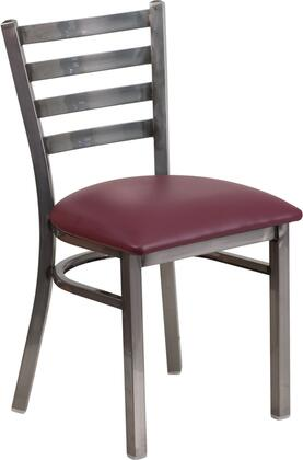 Flash Furniture XU-DG694BLAD-CLR-BXXX-GG HERCULES Series Clear Coated Ladder Back Metal Restaurant Chair - Vinyl Seat