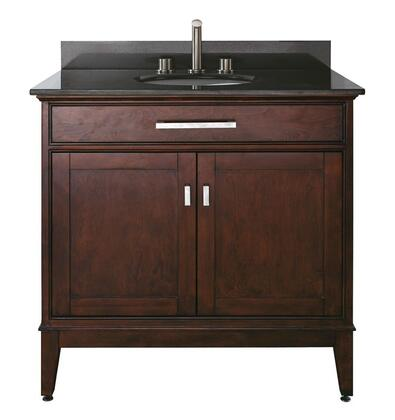 "Avanity Madison MADISON-VSXX-LE-A XX"" X Vanity with Black Granite Top, Undermount Sink, X Soft Close Drawers, X Soft Close Doors, and Adjustable Leg Levelers in Light Espresso Finish"