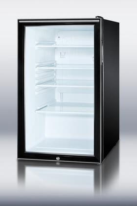 Summit SCR500BLBIHHADA  Freestanding Counter Depth Compact Refrigerator with 4.1 cu. ft. Capacity, 3 Glass ShelvesField Reversible Doors