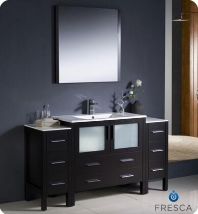 """Fresca Torino Collection FVN62-123612XX-UNS 60"""" Modern Bathroom Vanity with 2 Side Cabinets, 2 Frosted Glass Panel Soft Closing Doors and Integrated Sink in"""