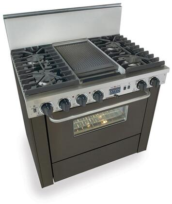 "FiveStar TTN3377W 36""  Black Dual Fuel Freestanding Range with Sealed Burner Cooktop, 3.69 cu. ft. Primary Oven Capacity,"