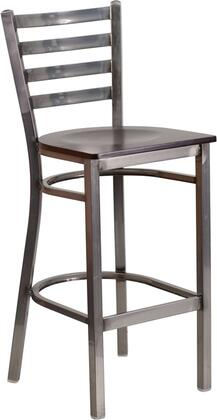 Flash Furniture XU-DG697BLAD-CLR-BAR-XXX-GG HERCULES Series Clear Coated Ladder Back Metal Restaurant Barstool - Wood Seat