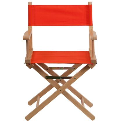 "Flash Furniture 33.25"" Director's Chair with Removable Covers, Arms, Cross Legs, Beechwood Frame, Portable Design, Canvas Seat and Back Cover in"