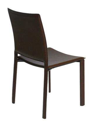 Euro Style 02379WHT Modern Leather Metal Frame Dining Room Chair