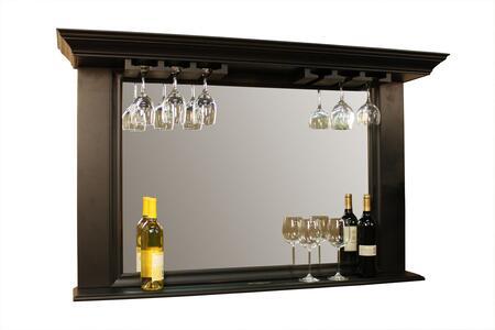 "American Heritage Eldorado Series 100814XX.1 54"" Mirror with Glass Stemware Holders, Display Shelf, and Beveled Edges on the Mirror"