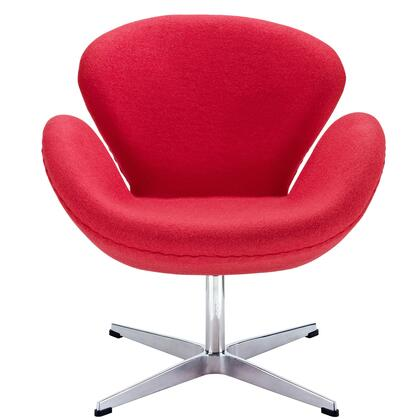 Modway EEI137RED Wing Series Modern Fabric Metal Frame Accent Chair