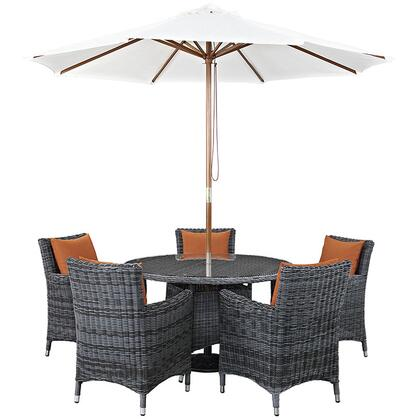 Modway Summon Collection EEI-2328-GRY- 7-Piece Outdoor Patio Sunbrella Dining Set with 5 Armchairs, Dining Table and Umbrella in