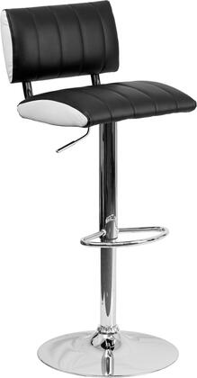 "Flash Furniture 34"" - 42.5"" Bar Stool with Adjustable Seat Height, Footrest, Swivel Seat, Chrome Base, CA117 Fire Retardant Foam, Low Back Design and Vinyl Upholstery"