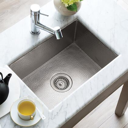 """Native Trails Copper Kitchen Sinks Collection Cocina Kitchen Sink with 3.5"""" Drain Opening, Single Bowl, Undermount Installation, Brushed Nickel and Copper Material in Brushed Nickel Finish"""