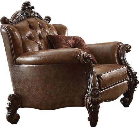 Acme Furniture 52102 Versailles Series Light Brown Bycast Leather Armchair with Wood Frame