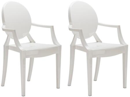 EdgeMod EM103WHIX2 Burton Series Contemporary Plastic Frame Dining Room Chair