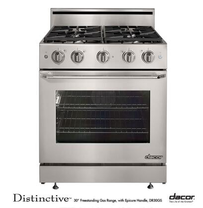 """Dacor Distinctive Series DR30GSH 30"""" Freestanding Gas-XX/High Altitude Range With 4 Burners, 4.8 Cu. Ft. Convection Oven, Continuous Grates, Illuminated Knob Controls, In Stainless Steel"""