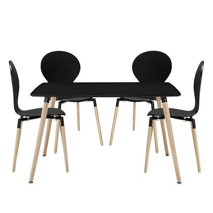 Modway EEI-1371 Path 5 Piece Dining Set One Table and Four Chairs, Modern Design, Fiberboard Frame, and Solid Beech Wood Legs
