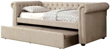 Furniture of America Leanna Collection Twin Size Daybed with Trundle Included, Button Tufted, Nail Head Trim, Rolled Arms, Wood Veneers Construction and Linen-Like Fabric Upholstery