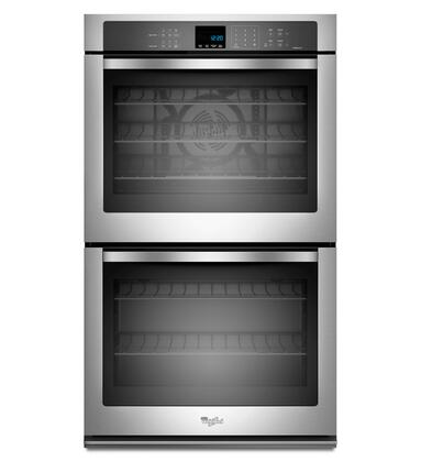 """Whirlpool WOD93EC0AX 30"""" Double Electric Wall Oven With 5.0 Cu. Ft. Per Oven, Self-Clean, True Convection Cooking, Hidden Bake Element, Steam Clean Option, Digital Clock, and 5 Oven Racks"""