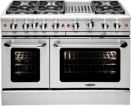 "Capital MCR486BN 48"" Gas Freestanding Range with Sealed Burner Cooktop, 4.6 cu. ft. Primary Oven Capacity, in Stainless Steel"