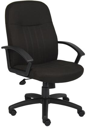 "Boss B8306-BK 41"" Mid-Back Fabric Managers Chair with Passive Ergonomic Seating, Upright Locking Position, Pneumatic Gas Lift Seat Height Adjustment, and Adjustable Tilt Tension Control"