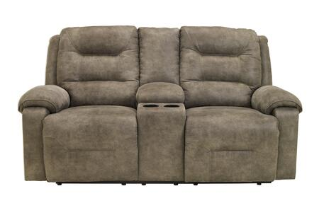 Signature Design by Ashley Rotation 975019X X Double Reclining Loveseat with Storage Console, 2 Cup Holders, Padded Arms and Divided Back Design in Smoke Color