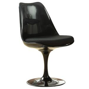 Fine Mod Imports FMI1139BLACKBLACK Flower Series Dining Material: Sueded Molded Fiberglass Frame Accent Chair