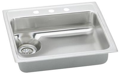 """Elkay LWR2522R Gourmet Lustertone Stainless Steel 25"""" x 22"""" Single Basin Top Mount Kitchen Sink with Right Drain:"""