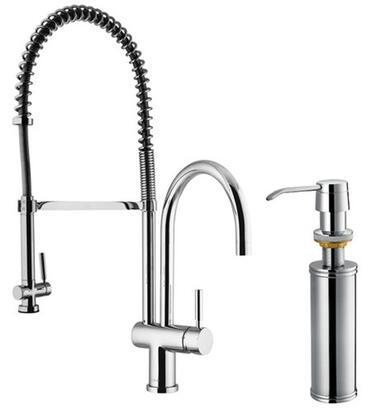 Vigo VG02006K2 Single Handle Pullout Spray Kitchen Faucet with Soap Dispenser: