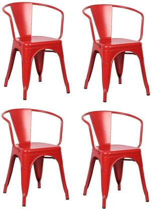 EdgeMod EM113REDX4 Trattoria Series Modern Metal Frame Dining Room Chair