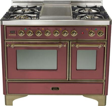 Ilve UMD1006MPRBY Majestic Series Dual Fuel Freestanding Range with Sealed Burner Cooktop, 2.44 cu. ft. Primary Oven Capacity, Warming in Burgundy
