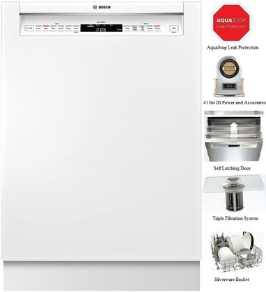 """Bosch Benchmark SHE7PT52UC 24"""" Built In Full Console Dishwasher with 15 Place Settings Place Settingin White"""