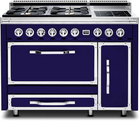 """Viking TVDR480-4I 48"""" Tuscany Series Professional Dual Fuel Range with 4 Sealed Burners and 2 Induction Elements, Dual Ovens and Storage Drawer:"""