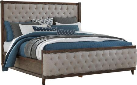 Standard Furniture Cresswell Collection 988UPHOLSTEREDBED Size Panel Bed with Fabric Upholstery, Button Tufting, Nail Head Trims, Clean Line Design and Tapered Legs in Beige