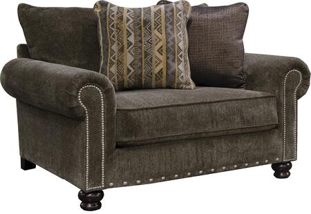 """Jackson Furniture Avery Collection 3261-01- 58"""" Chair and a Half with Nail Head Accents, Rolled Arms and Chenille Fabric Upholstery in"""
