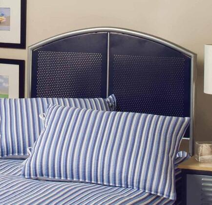 Hillsdale Furniture 1177H Brayden Panel Headboard with Rails, Mesh Detail and Metal Construction in Silver and Navy Finish