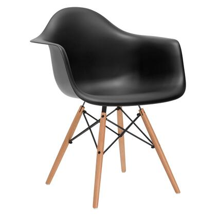 EdgeMod EM110NATBLK Vortex Series Modern Wood Frame Dining Room Chair