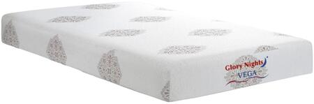 """Glory Furniture Vega Collection 8"""" Memory Foam Mattress with Visco Memory Foam, Removable and Washable Cover in White Color"""