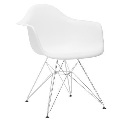 EdgeMod EM111CRMWHI Padget Series Modern Metal Frame Dining Room Chair