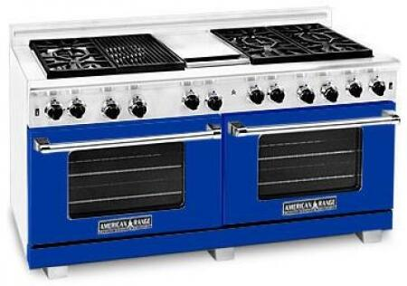 American Range ARR6062GDLBU Heritage Classic Series Liquid Propane Freestanding Range with Sealed Burner Cooktop, 4.8 cu. ft. Primary Oven Capacity, in Sapphire Blue