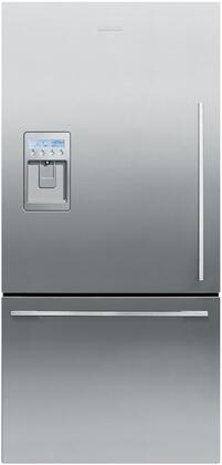 Fisher Paykel RF170WDLUX1 ActiveSmart Series Counter Depth Bottom Freezer Refrigerator with 17.1 cu. ft. Total Capacity 4.8 cu. ft. Freezer Capacity 4 Glass Shelves