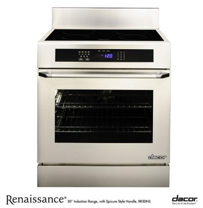 "Dacor Renaissance RR30NXS 4.8 cu. ft. Capacity 30"" Freestanding Range Induction Range With Four Induction SimmerSear Zones, 6"" Backguard, Full-Depth Side Panels & In Stainless Steel"