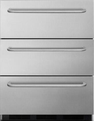 "Summit SP6DSSTBOS7x 24"" Commercial Drawer Refrigerator with 5.4 cu. ft. Capacity, 3 Drawers, Weatherproof Design, Magnetic Gaskets and Adjustable Thermostat, in Stainless Steel"