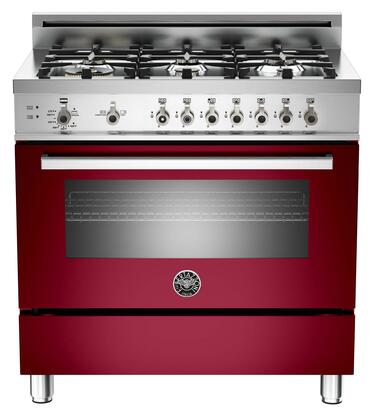 "Bertazzoni PRO366GASVILP 36"" Professional Series Gas Freestanding Range with Sealed Burner Cooktop, 4.4 cu. ft. Primary Oven Capacity, Storage in Burgundy"