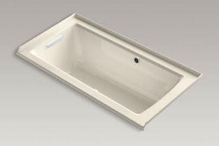 "Kohler K-1947-GLW- Archer 60"" x 30"" Alcove BubbleMassage Air Bath with Integral Flange, Left-Hand Drain and Bask Heated Surface in"