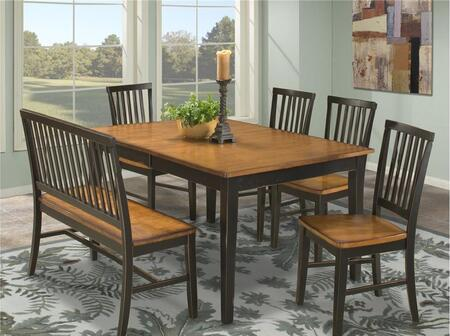 Intercon Furniture Arlington ARTA4278 Dining Room Table With Distressed Detail, Apron and Tapered Legs.