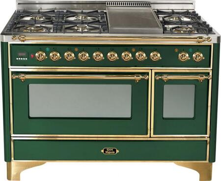 """Ilve UM1207MPVS 48"""" Majestic Series Dual Fuel Freestanding Range with Sealed Burner Cooktop, 2.8 cu. ft. Primary Oven Capacity, Warming in Green"""