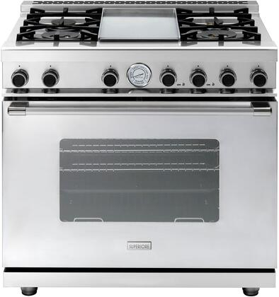 "Tecnogas Superiore RN362G 36"" NEXT Series Freestanding Natural Gas Range with Oven Doors, 4 Sealed Burner, Convection Oven, and Electric Griddle, in Stainless Steel"
