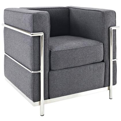 Modway EEI696DGR Charles Series Fabric Armchair with Metal Frame in Dark Grey
