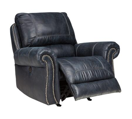 """Milo Italia Josiah MI-2573FTMP 42"""" Power Rocker Recliner with Nail Head Trim, Rolled Arms, Jumbo Stitching, Split Back Cushion, PU Leather and Fabric Upholstery in"""